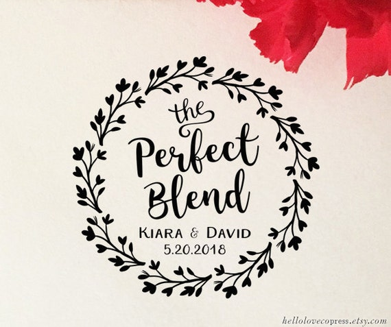The Perfect Blend Stamp Coffee Wedding Favor Self