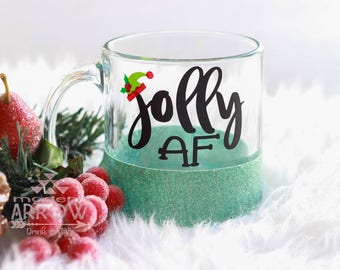 Jolly AF Glitter Mug / READY to SHIP / Fast Shipping / Glass Coffee Mug / Glass Mug Glitter / Christmas Mug / Holiday Mug / Coffee Mug