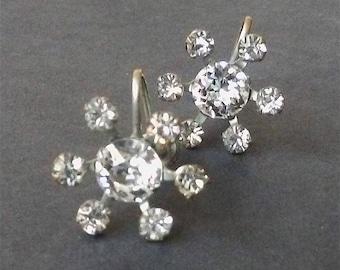 Vintage 1950's Flower Burst Rhinestone Earrings