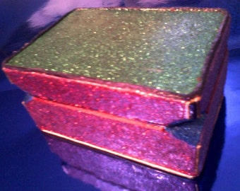 Glitter Jewelry Box with Gloss Acrylic Neon Pink and Black Cloth Interior