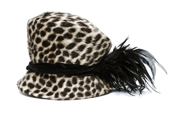 Philip Treacy London Cheetah Print Faux Fur Asymet