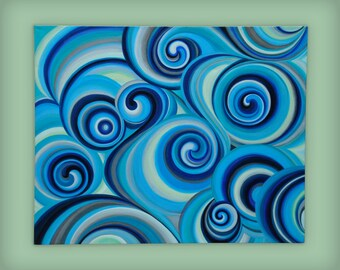 """Abstract blue acrylic painting on stretched canvas, 24"""" x 30"""", 1.5"""" deep"""