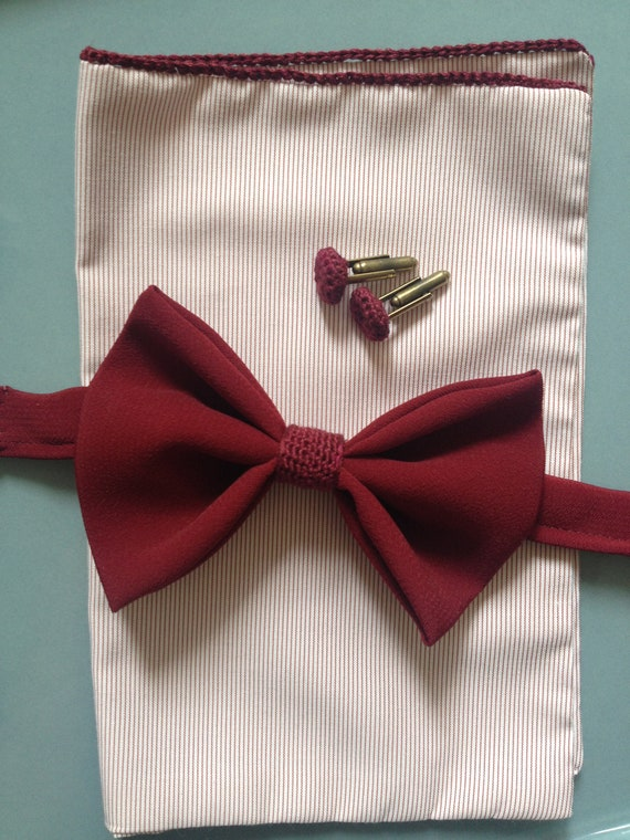 Vintage bow tie, wedding bow tie, with crocheted details, Bordeaux