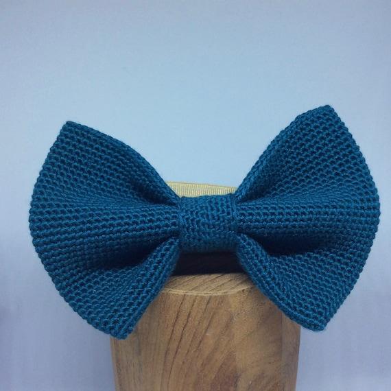 Crochet Bowtie, 100% Silk, petrol-blue/green