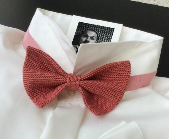 Knitted Bowtie, Wedding Bowtie, 100% Silk, coral, pink