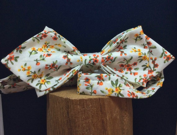 Bow Tie, Wedding Bow Tie, rowan-berries, red/yellow