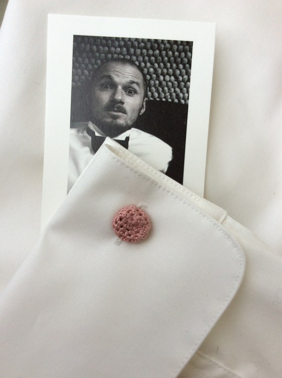 Cufflinks, crocheted, Rosewood, Old Rose