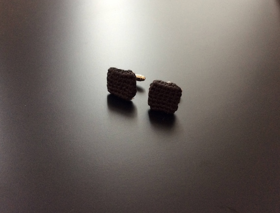 Cufflinks/Cufflinks crochet, knitted, black, 100% silk