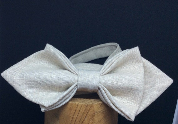 Bow Tie, Wedding Bow Tie,  linen in beige