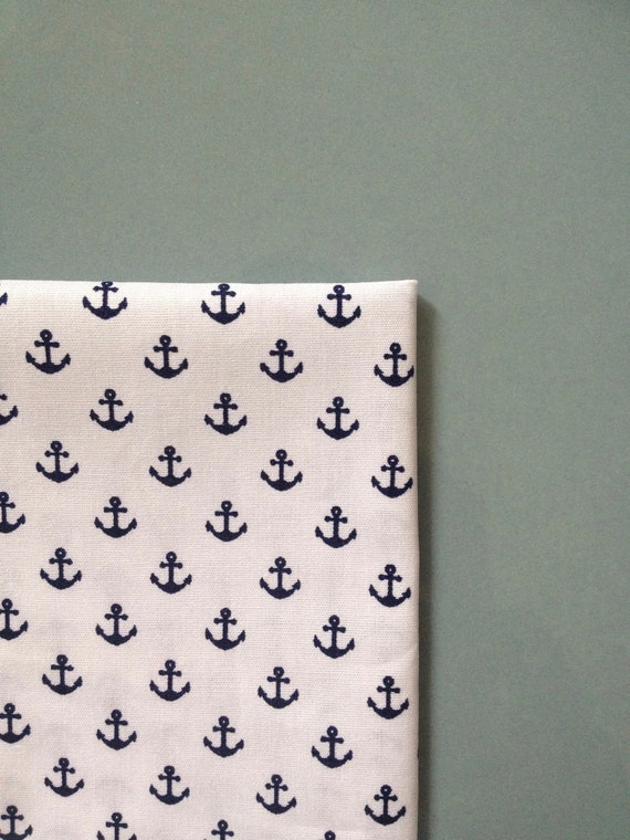 Pocketsquare with anchor print, blue-white