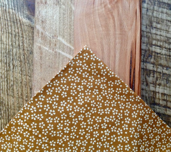 Pocket handkerchief, kimono fabric; mustard, ochre yellow with scattered flowers