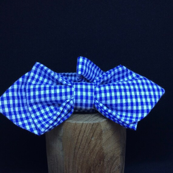 Pointed Bowtie for the Oktoberfest! Vichy check, blue-white