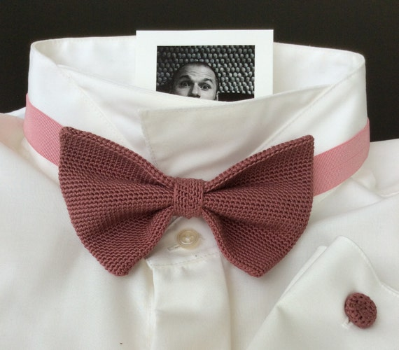 Crochet Bowtie, 100% Silk, dark pink/ old rose