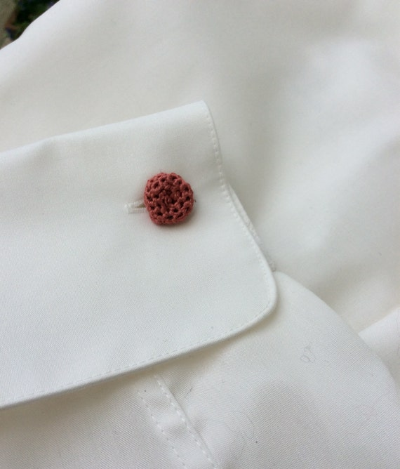 Cufflinks, crochet, 100% silk, coral