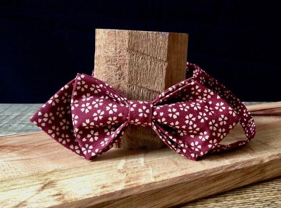 Pointed Bow Tie, Kimono - Fabric, Liberty - Print, Bordeaux - Millefleure