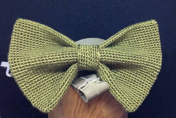 Knitted Bowtie, 100% Silk, Green