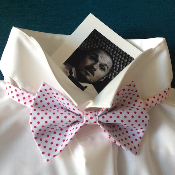 bow tie, wedding fly, 50sstyle, polkadots red-white, slim
