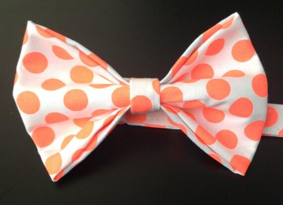 Bowtie, Polkadots, Neon - Orange, Cotton