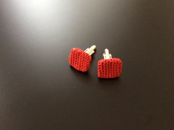 Cufflinks/Cufflinks crochet, knitted, red, 100% silk