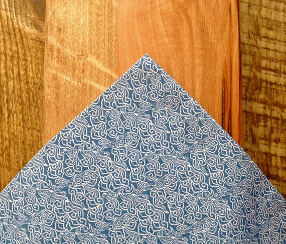 Pocket handkerchief made of kimono fabric with blue and white wave print