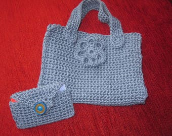 Crochet childs shopping bag with matching purse