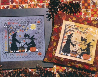 Lila's Studio ** Witch's Brew ** Halloween Witch Counted Cross Stitch Pattern Cauldron