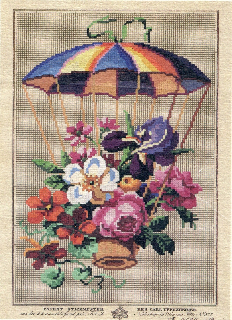 Thumblands ** Victorian Needlework Chart Circa 1850 ** Parachute with Flowers for Cross Stitch or Needlepoint RARE authentic reproduction
