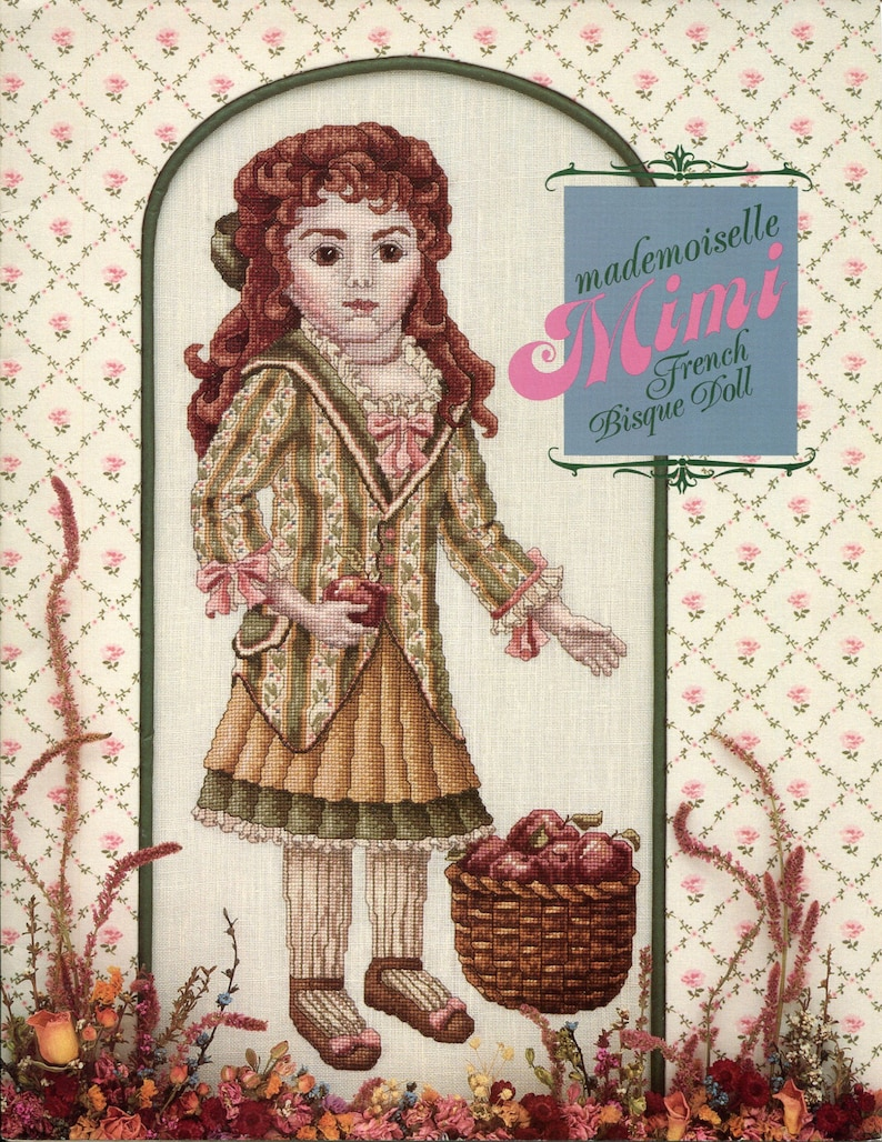 French Bisque Doll MADEMOISELLE MIMI Out of Print and Rare cross stitch leaflet Just CrossStitch 1985 Teresa Wentzler