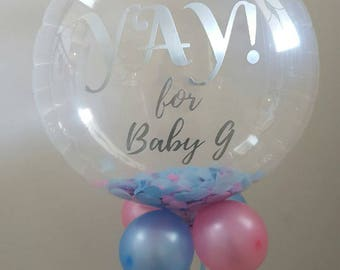 f27ab8322 Custom confetti filled bubble balloon round balloon with custom balloon  decal rose gold silver gold - baby shower baptism brides maid