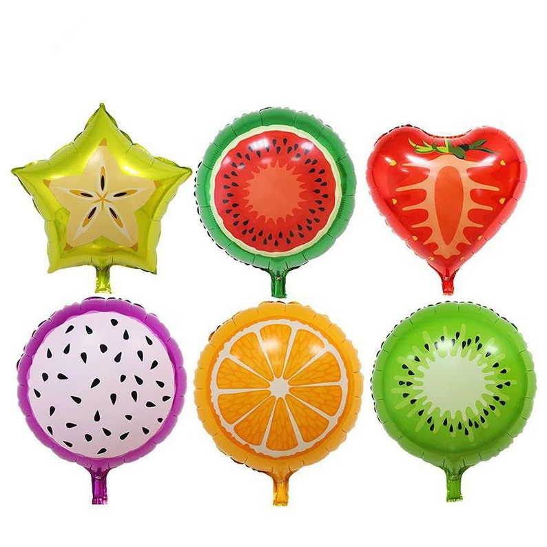 Set of 6 Foil Tutti Fruity multi colour balloons birthday party fruit,  kiwifruit, strawberry, starfruit, orange