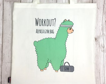 Workout Alpaca Gym Bag - Funny Tote Bag - Personalised Option - Alpaca Gift - Shopping Grocery Fitness