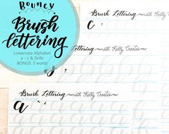 Bouncy Brush Lettering Lowercase Alphabet & Drills for Large Brush Pens