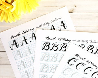 Capital Letters Brush Lettering (Uppercase) Practice Sheets for Large Brush Pens