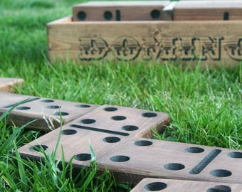 Reclaimed Wood Giant Yard Domino - Outdoor Games - Wood Yard Games - Large Domino Set - Wedding Reception Game - Custom Family Name Gift