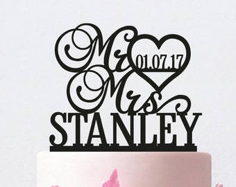 Personalized Mr and Mrs Wedding Cake Topper with YOUR Last Name / ST007