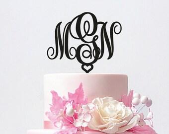 Monogram Cake Topper - Initial Wedding Cake Topper - Gold Monogram Cake Topper - Keepsake Cake Topper  / ST017