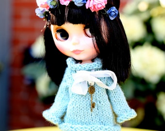 Neo Blythe Sweater bohochic hand knitted OOAK in Bergere de France soft Aqua wool mix 4ply