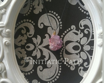 Copper and purple Fluorite pendant Pink and gold
