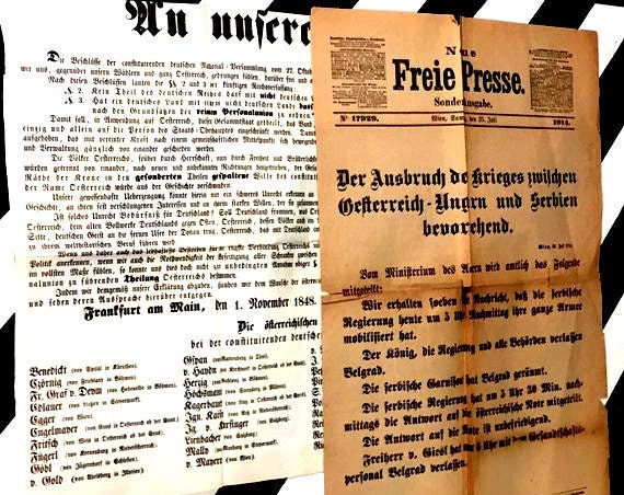 Lot of 14 Historic Vintage German Newspaper Broadsides (1800s-1914) ephemera