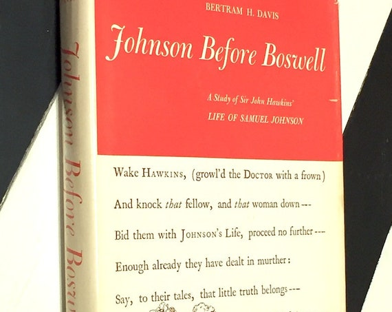 Johnson before Boswell by Bertram H. Davis (1957) hardcover book