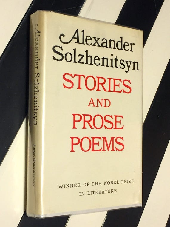 Stories and Prose Poems by Alexander Solzhenitsyn (1971) first edition book