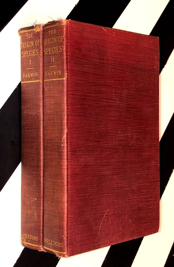 The Origin of the Species Authorized Edition in Two Volumes by Charles Darwin (1897) hardcover books
