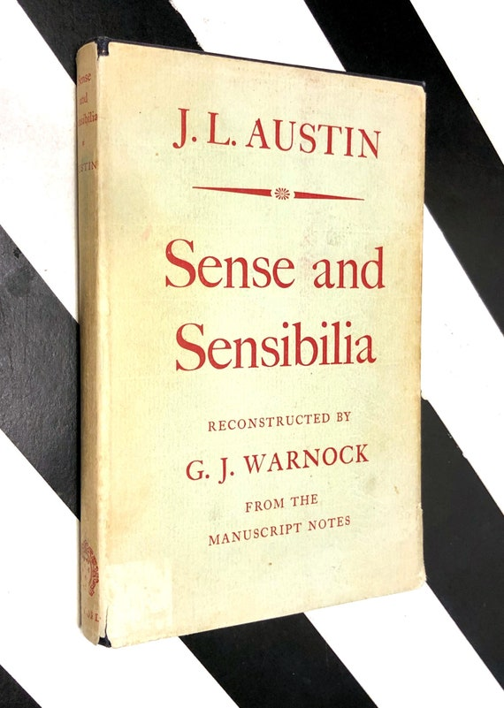 Sense and Sensibilia by J. L. Austin (1962) first edition book