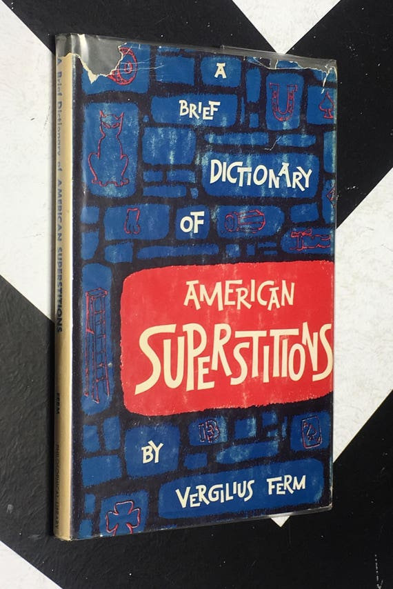 A Brief Dictionary of American Superstitions by Vergilis Ferm vintage blue occult horror reference book (Hardcover, 1965)