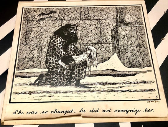 Oversize signed Edward Gorey Print (no date) signed poster print