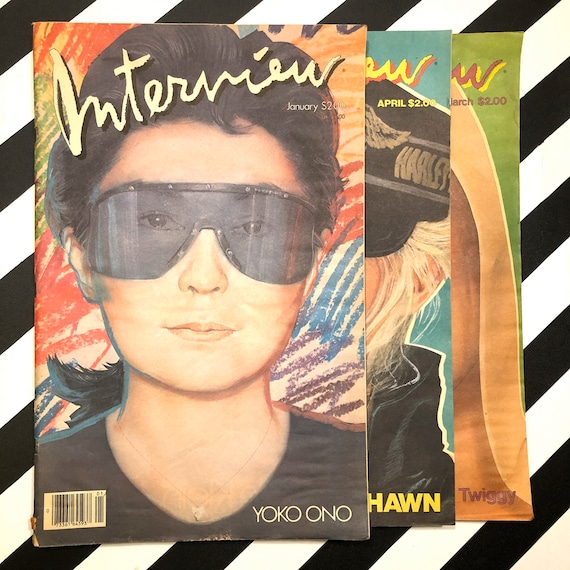 Interview Magazine - 3 issues - Yoko Ono / Twiggy / Goldie Hawn (1983)