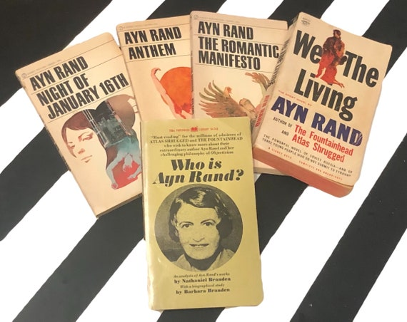Ayn Rand and Related Paperback Including: Who is Ayn Rand?, The Romantic Manifesto, We the Living, Anthem, Night of January the 16th