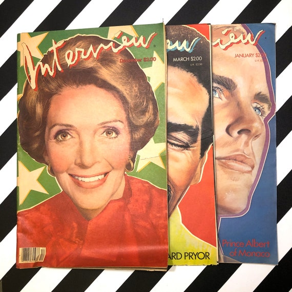 Interview Magazine - 3 issues - Nancy Reagan / Richard Pryor / Prince Albert of Monaco (1980-1985)