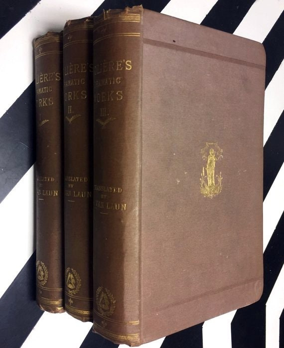 Molière's Dramtic Works; Translated by Henri Van Laun in five vol. (1875) hardcover books
