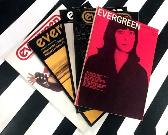 Lot of Five Vintage Issues of Evergreen Review Magazines (1965-1970) softcover magazines